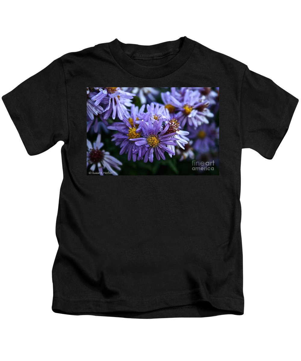 Flower Kids T-Shirt featuring the photograph Aster Dew Drops by Susan Herber