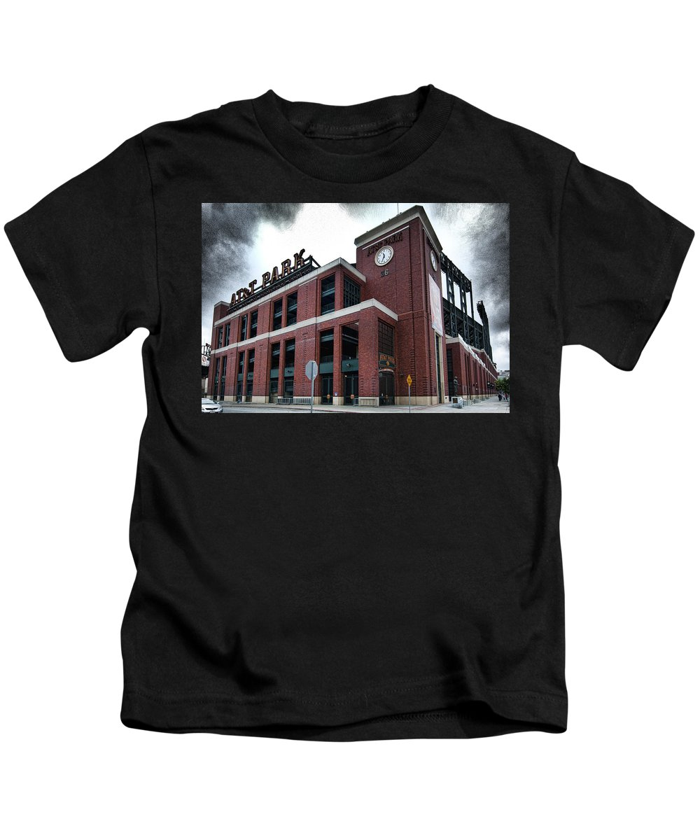 At&t Park Kids T-Shirt featuring the photograph At And T Park by Jay Hooker