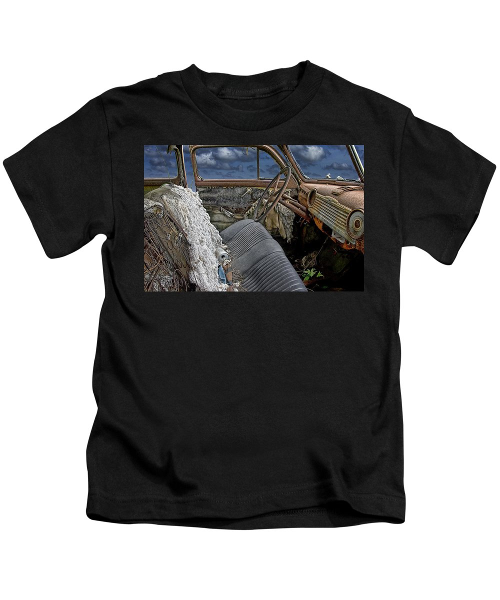 Art Kids T-Shirt featuring the photograph Auto Interior Of Abandoned Vehicle by Randall Nyhof
