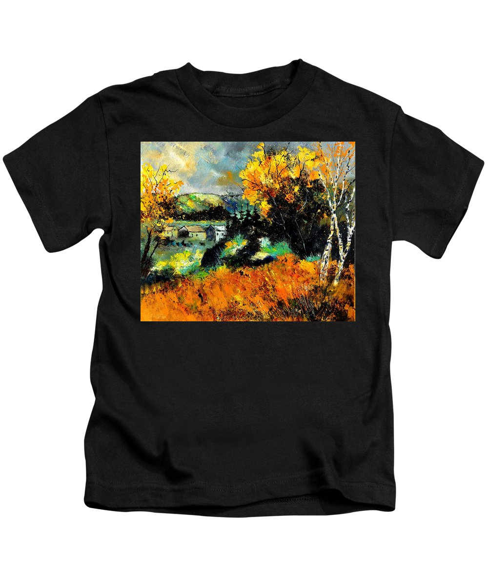 Landscape Kids T-Shirt featuring the painting Autumn In Ardennes 672101 by Pol Ledent