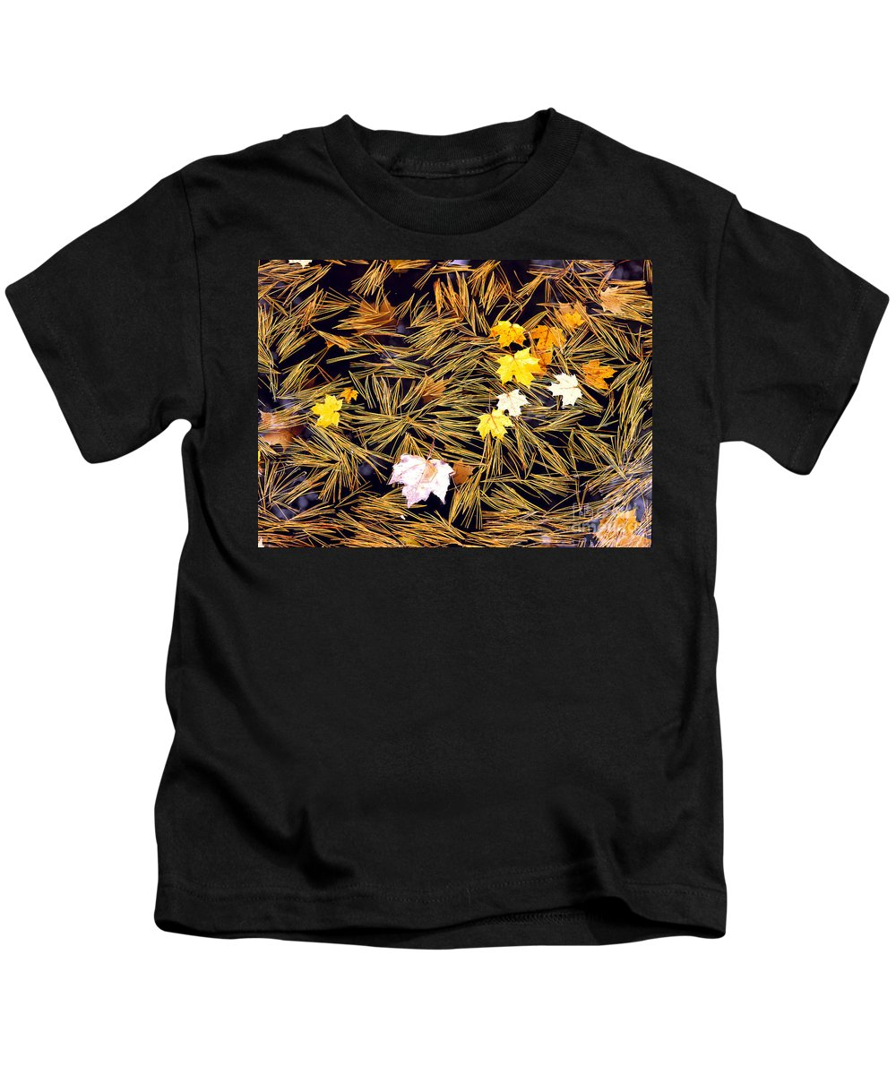 Autumn Kids T-Shirt featuring the photograph Autumn Leaves On Straw On Water by Mike Nellums