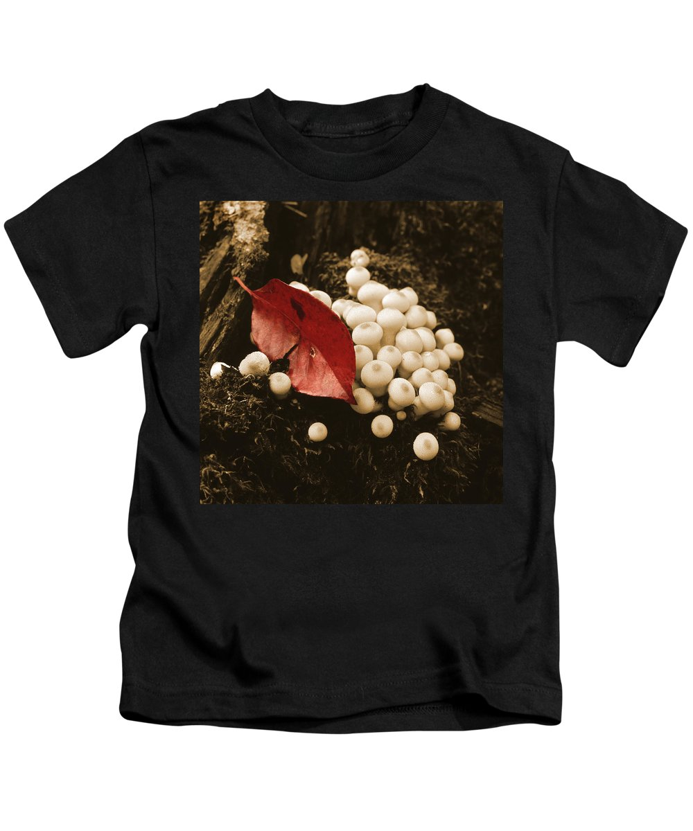 Nature Kids T-Shirt featuring the photograph Autumn Mushrooms by Garry McMichael