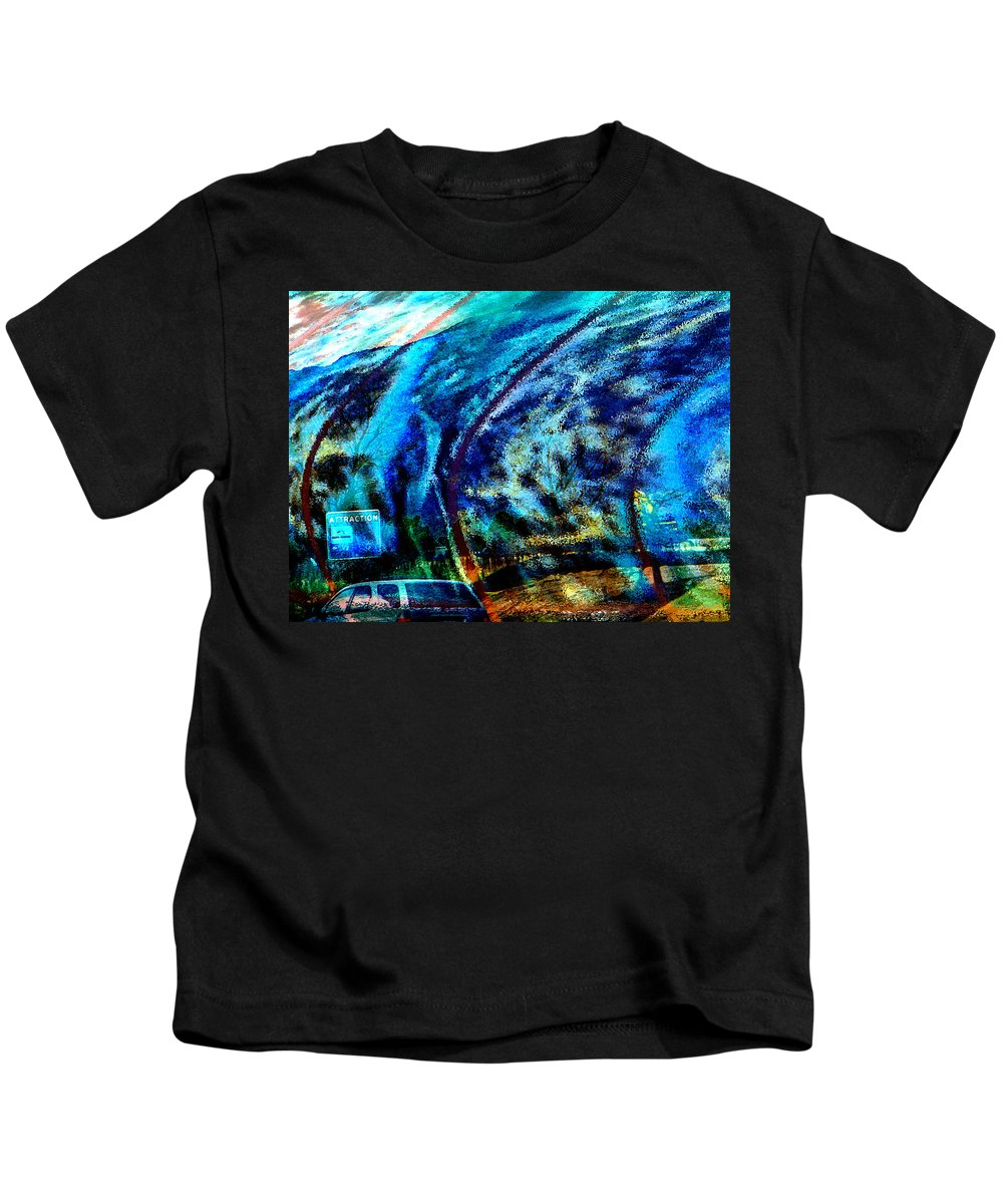 Abstract Kids T-Shirt featuring the photograph Back In The City By Sunday Night by Lenore Senior