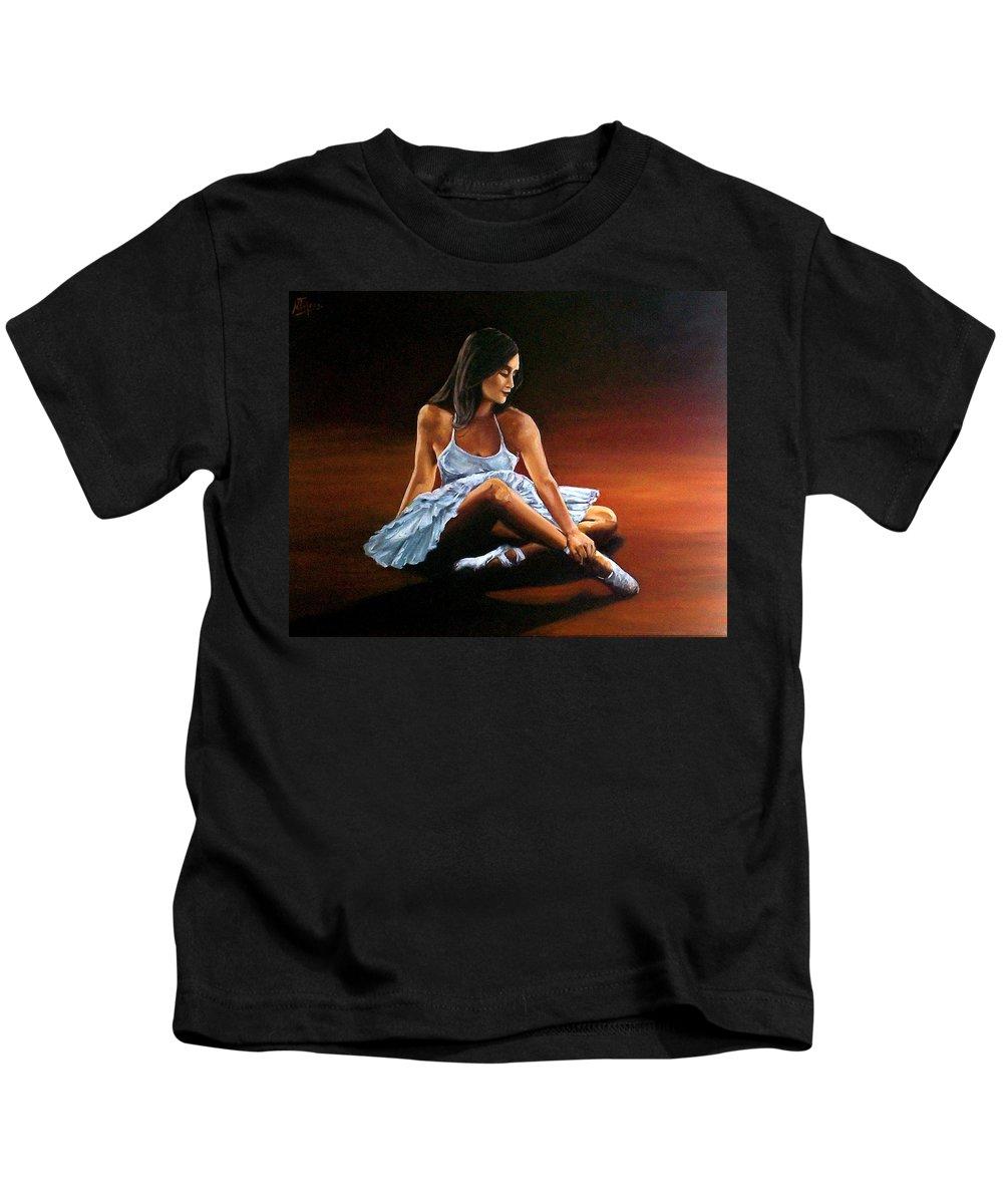 Ballerina Kids T-Shirt featuring the painting Ballerina by Natalia Tejera