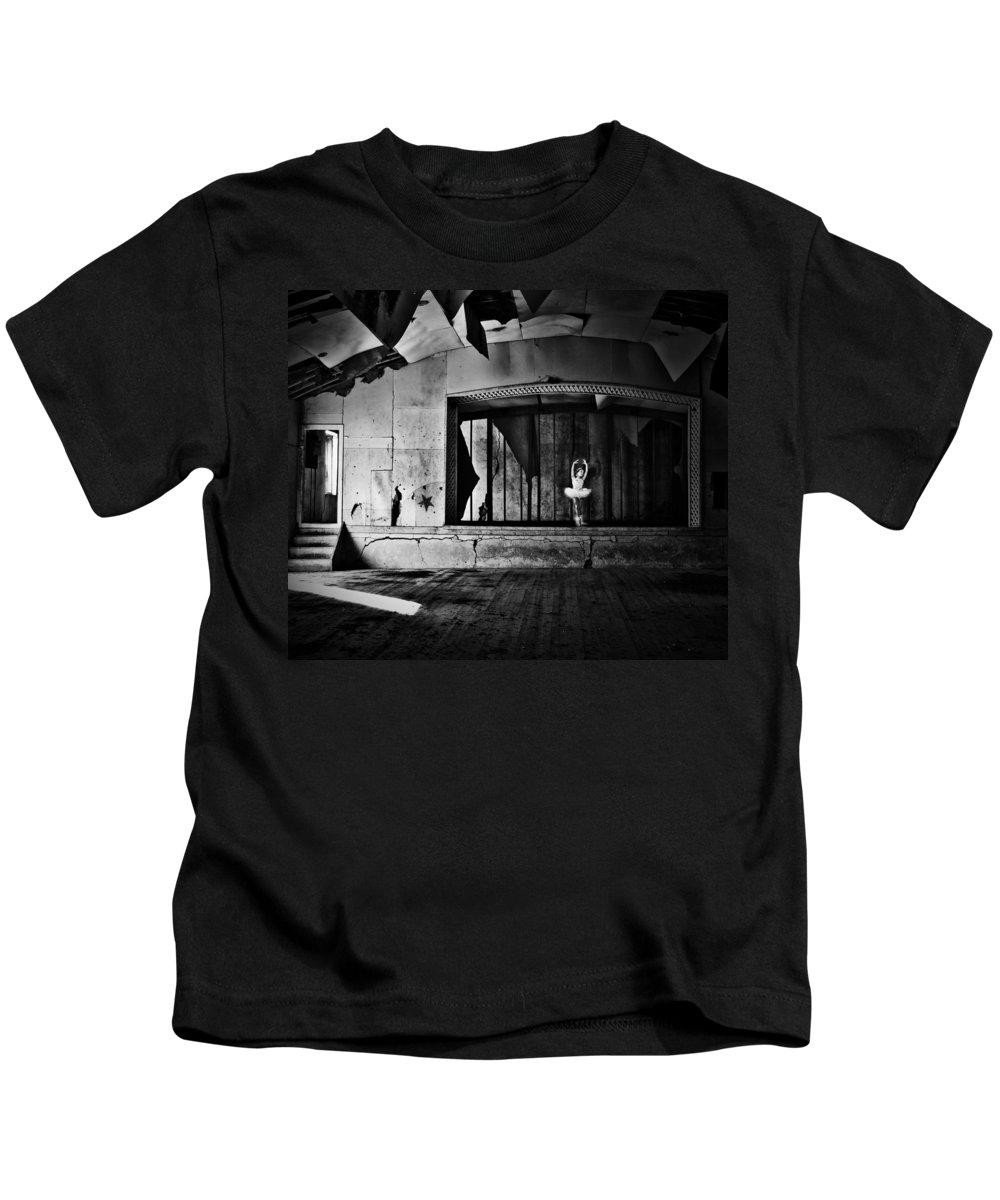 Street Photographer Kids T-Shirt featuring the photograph Ballerinas Ballad by The Artist Project