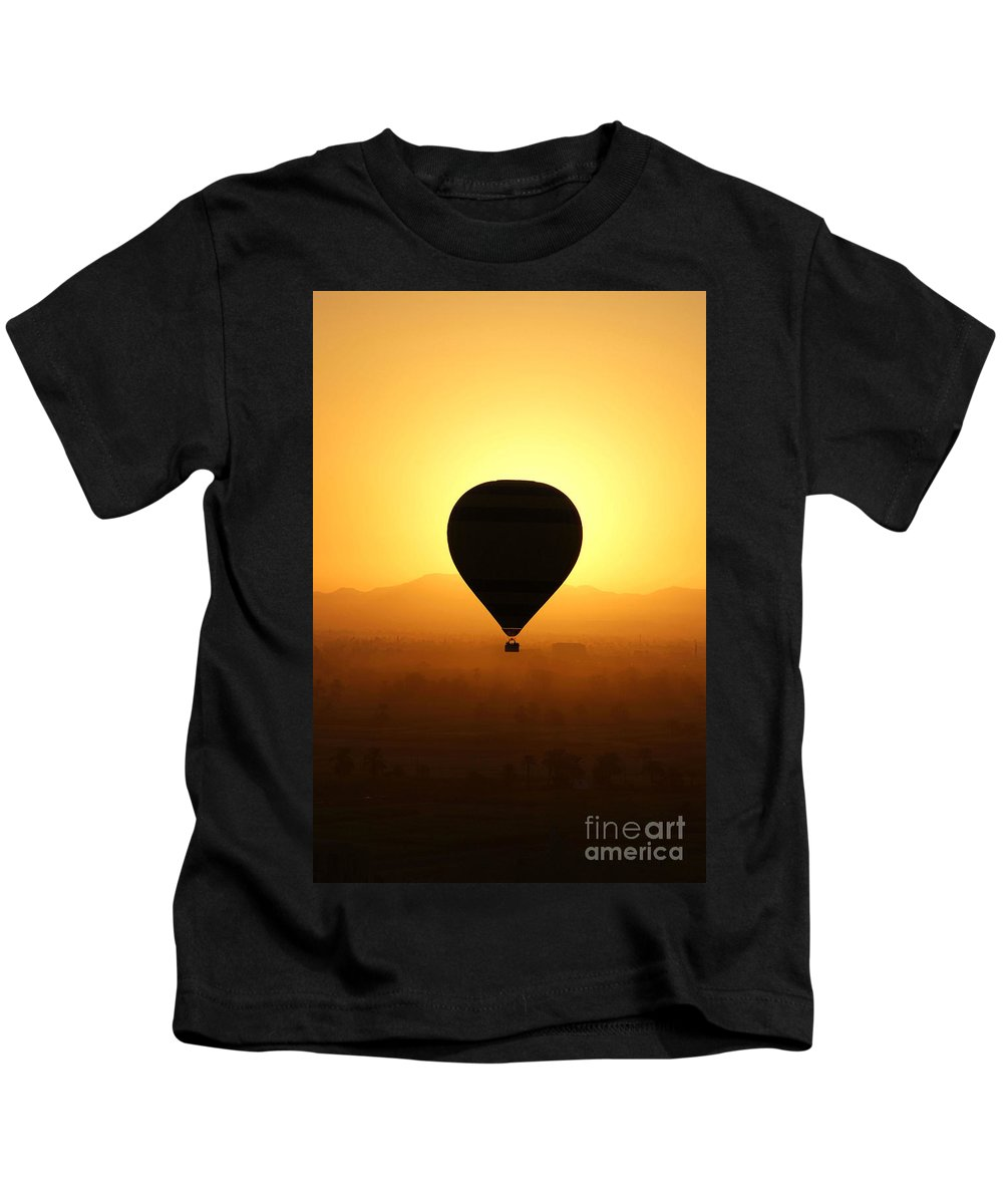 Egypt Kids T-Shirt featuring the photograph Balloon Over The Valley Of The Kings by Brian Raggatt