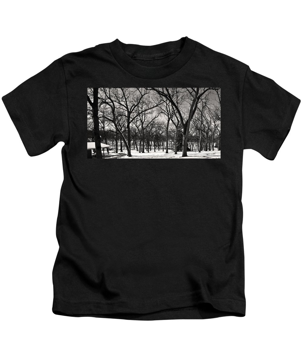 Winter Scene Kids T-Shirt featuring the photograph Bare by Edward Peterson