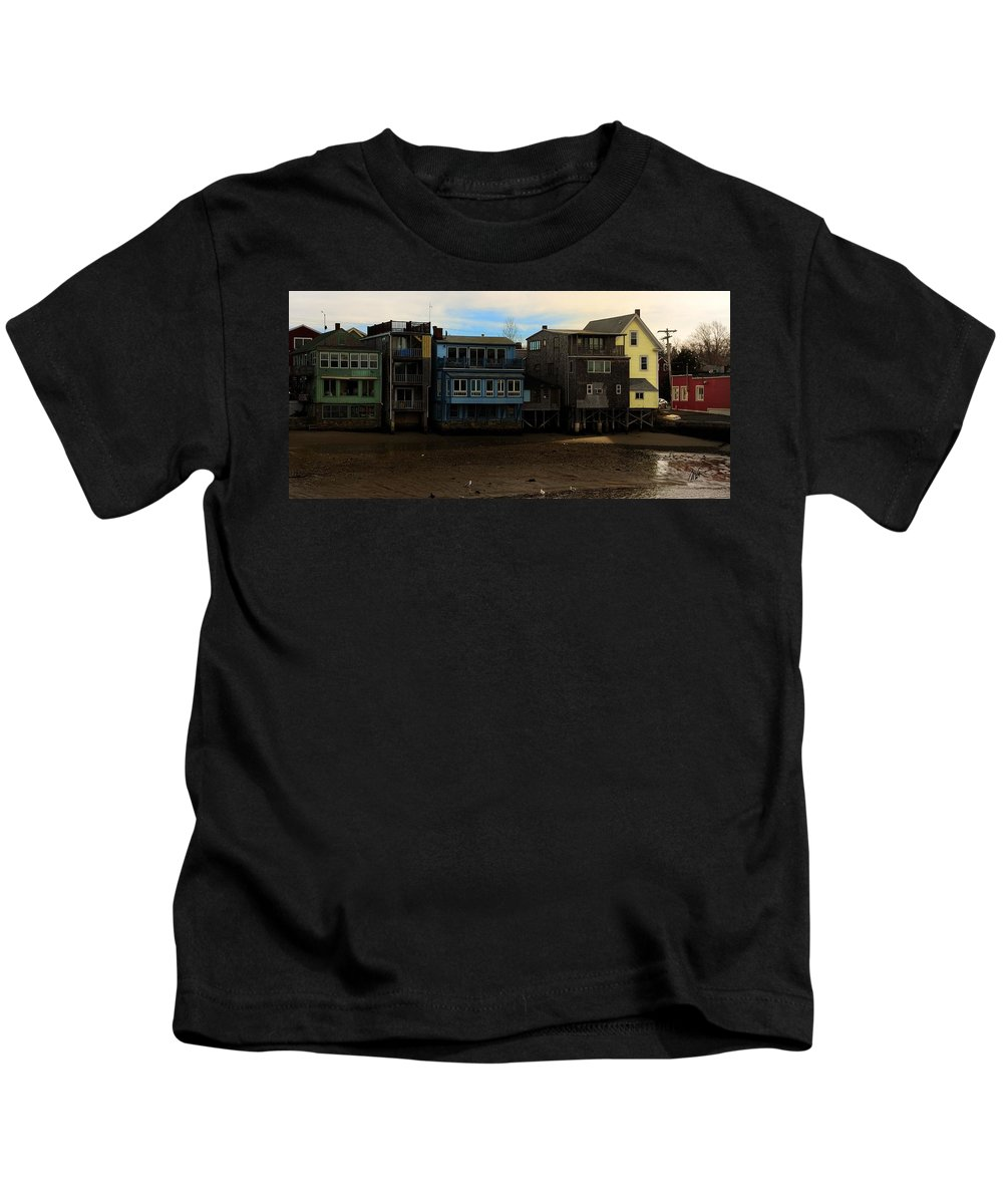 Rockport Kids T-Shirt featuring the photograph Beach Buildings - Greeting Card by Mark Valentine