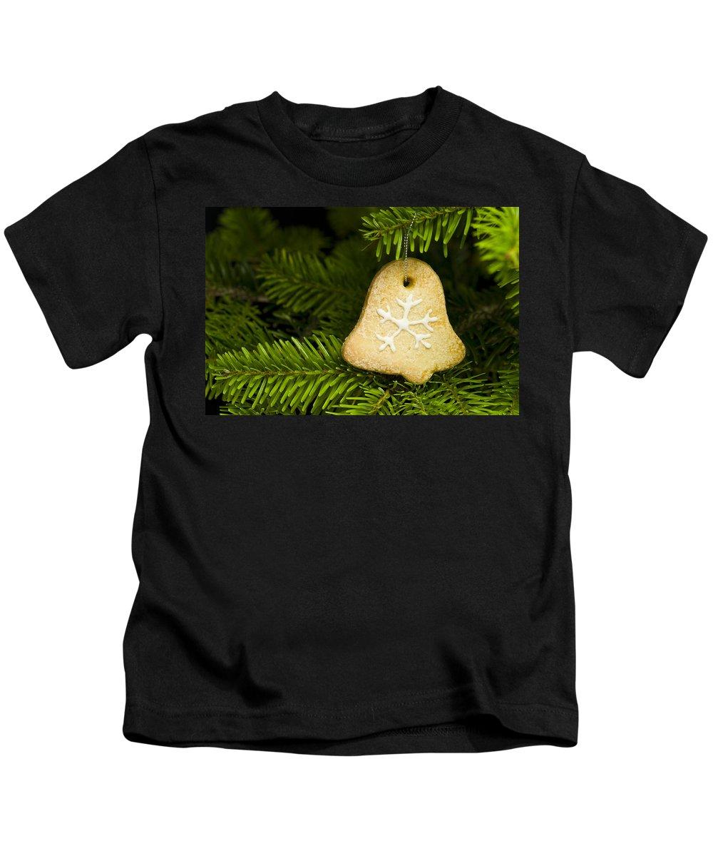 Advent Kids T-Shirt featuring the photograph Bell Shape Short Bread Cookie by U Schade