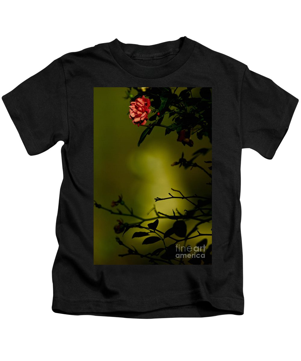 Rose Kids T-Shirt featuring the mixed media Beyond The Rose by Kim Henderson