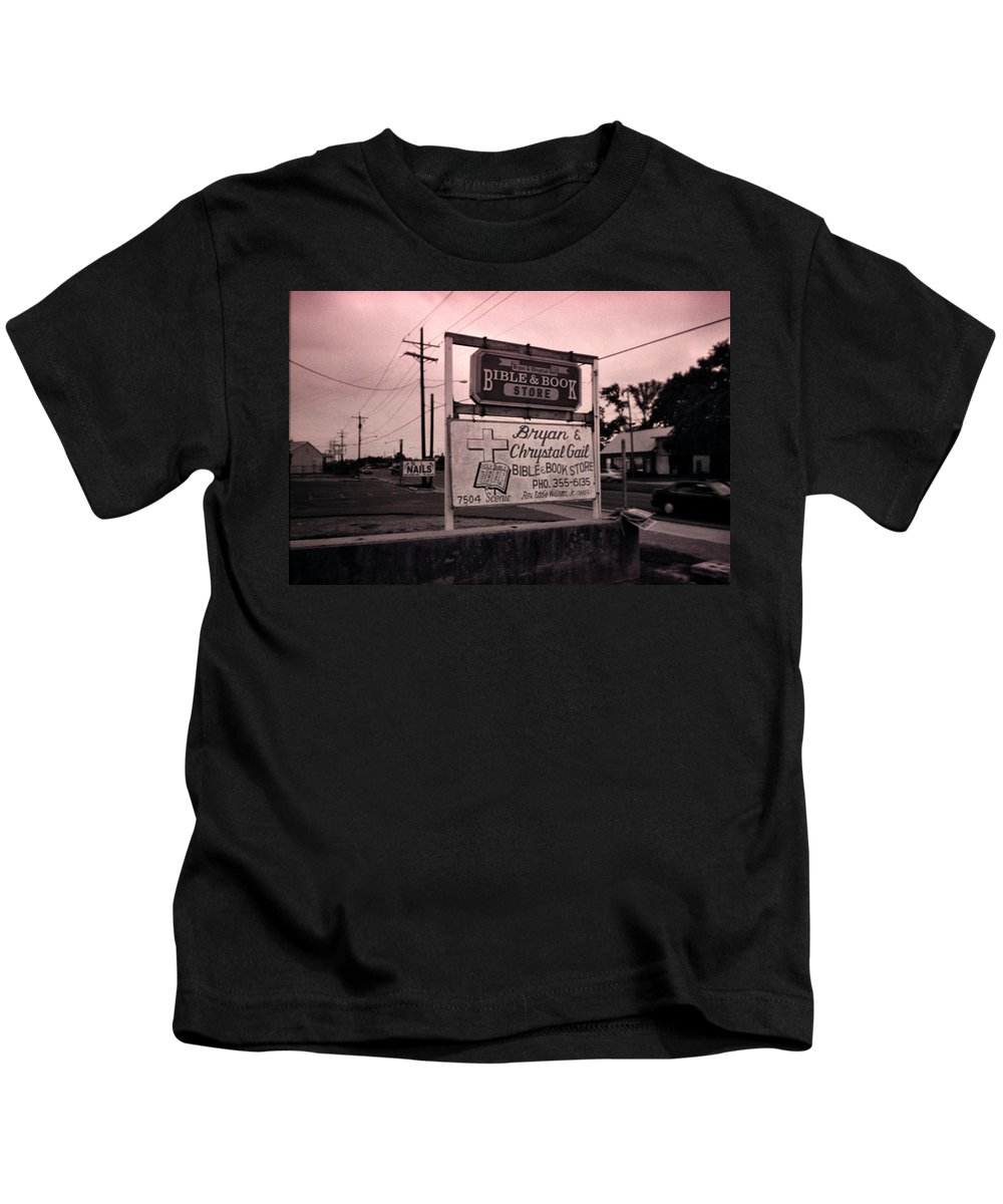Louisiana Kids T-Shirt featuring the photograph Bible And Bookstore- Nails by Doug Duffey
