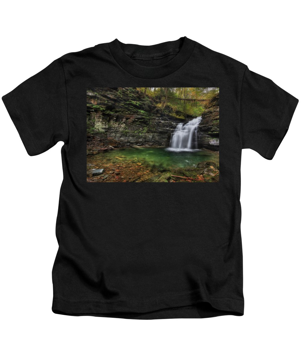 Big Falls Kids T-Shirt featuring the photograph Big Falls - Heberly Run by Lori Deiter