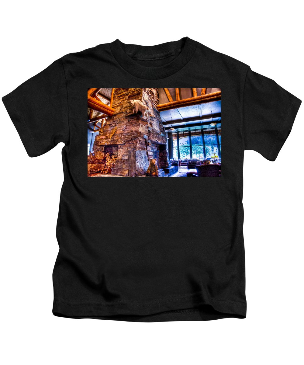 Big Sky Ski Resort Kids T-Shirt featuring the photograph Big Sky Lodge Interior by Jon Berghoff
