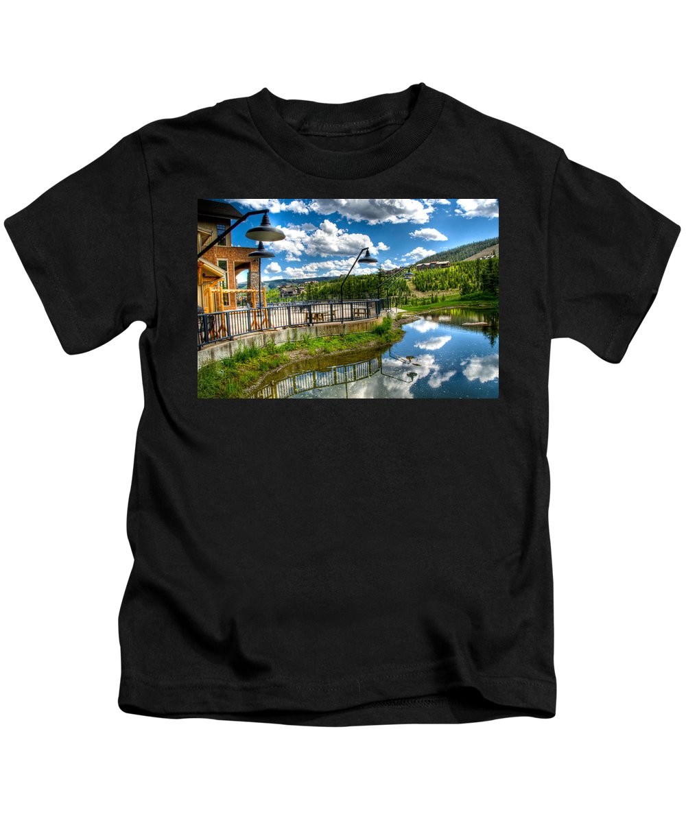 Mountain Views Kids T-Shirt featuring the photograph Big Sky Ski Resort II by Jon Berghoff