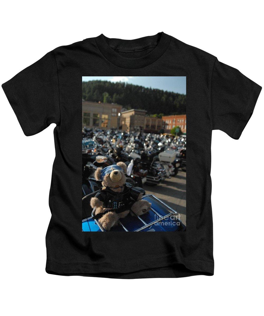 Bear Kids T-Shirt featuring the photograph Biker Bear by Anthony Wilkening