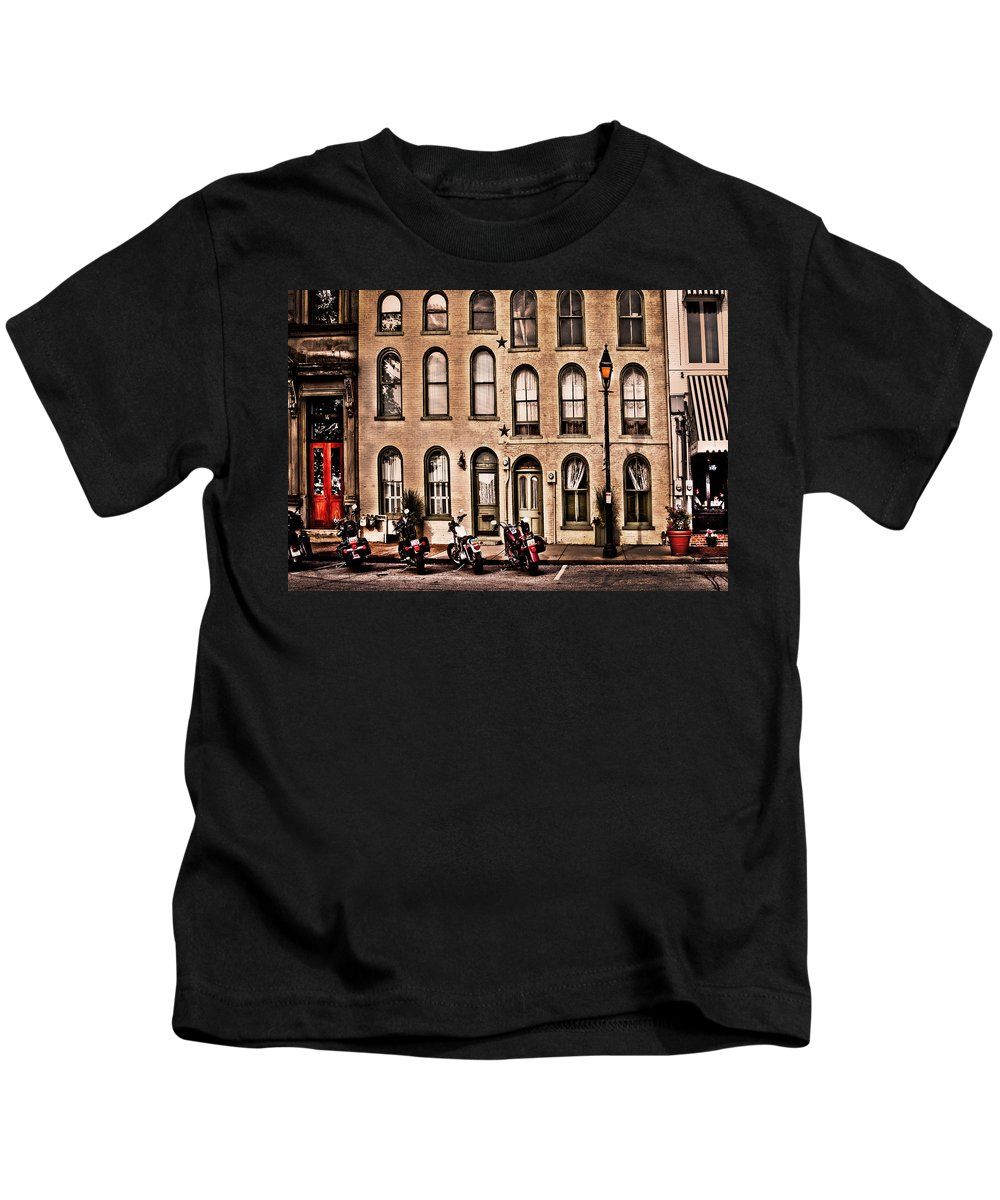 Bikers Kids T-Shirt featuring the photograph Bikers rest by Randall Branham