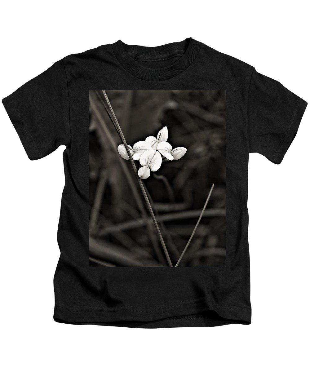 Flowers Kids T-Shirt featuring the photograph Bird's-foot Trefoil Monochrome by Steve Harrington