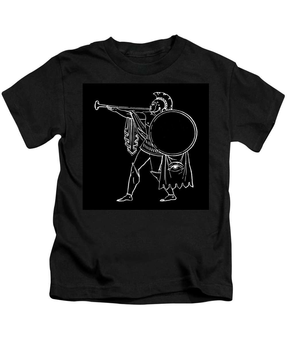 B&w Kids T-Shirt featuring the photograph Black And White Ancient Greek Warrior by James Hill