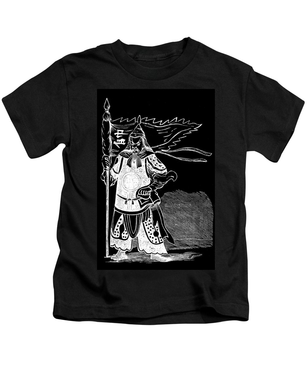 Black And White Kids T-Shirt featuring the photograph Black And White Chinese Warrior by James Hill