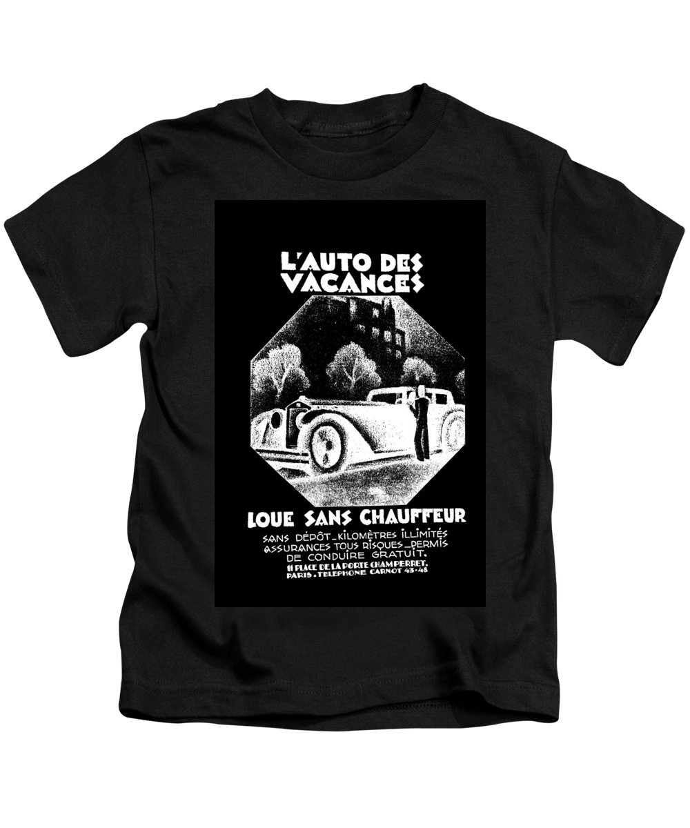 B&w Kids T-Shirt featuring the photograph Black And White French Car by James Hill