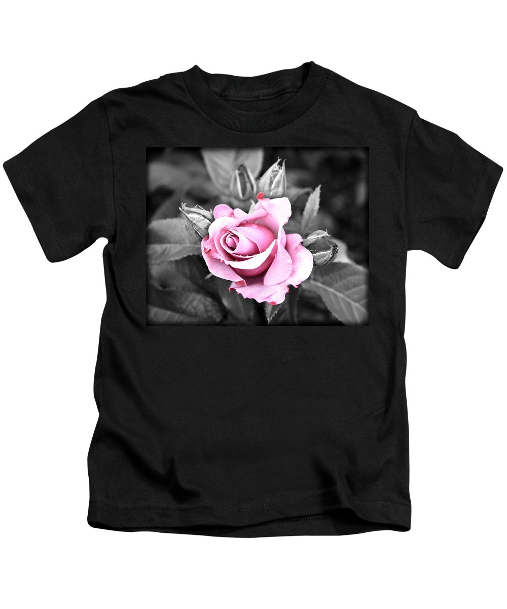 Black Rose Kids T-Shirt featuring the photograph Black Rose by Steve McKinzie