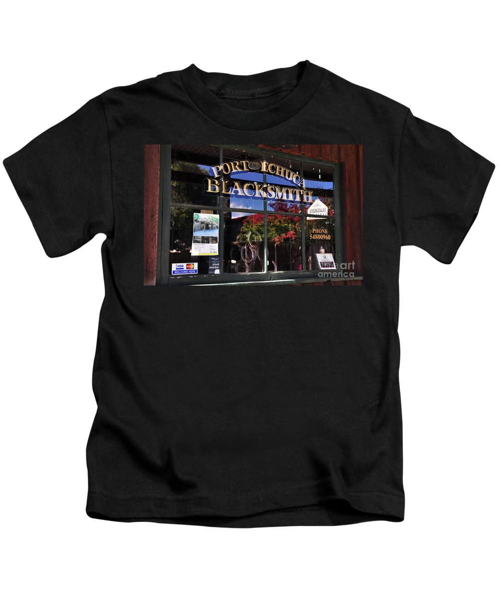 Photography Kids T-Shirt featuring the photograph Blacksmith Shop by Kaye Menner