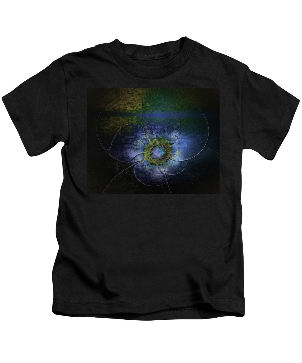 Digital Art Kids T-Shirt featuring the digital art Blue Anemone by Amanda Moore
