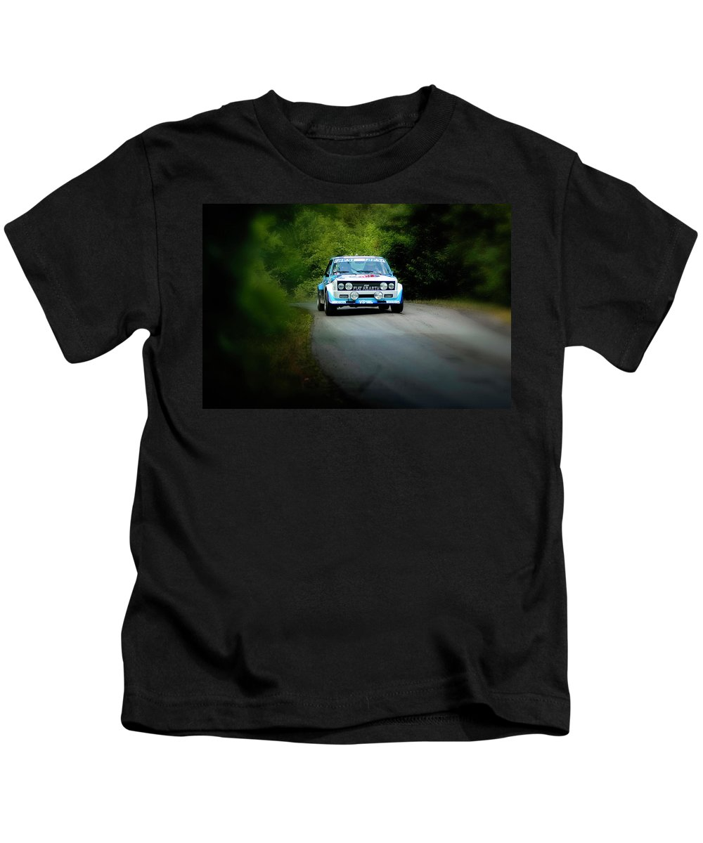 Car Kids T-Shirt featuring the photograph Blue Fiat Abarth by Alain De Maximy