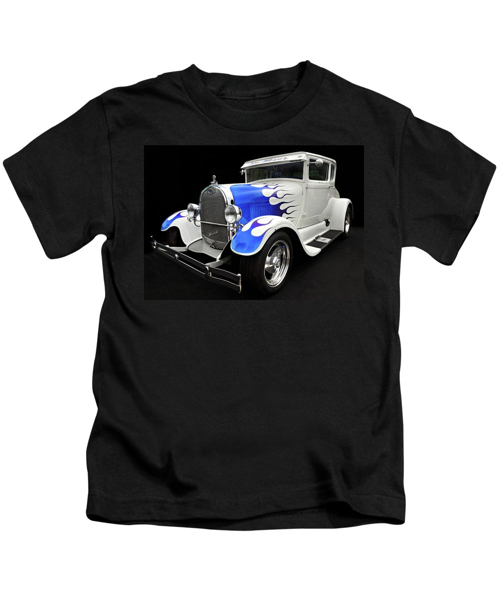 Custom Car Kids T-Shirt featuring the photograph Blue Flames by Dave Mills
