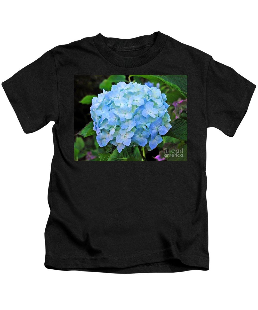 Flower Kids T-Shirt featuring the photograph Blue Garden Flower by Tap On Photo