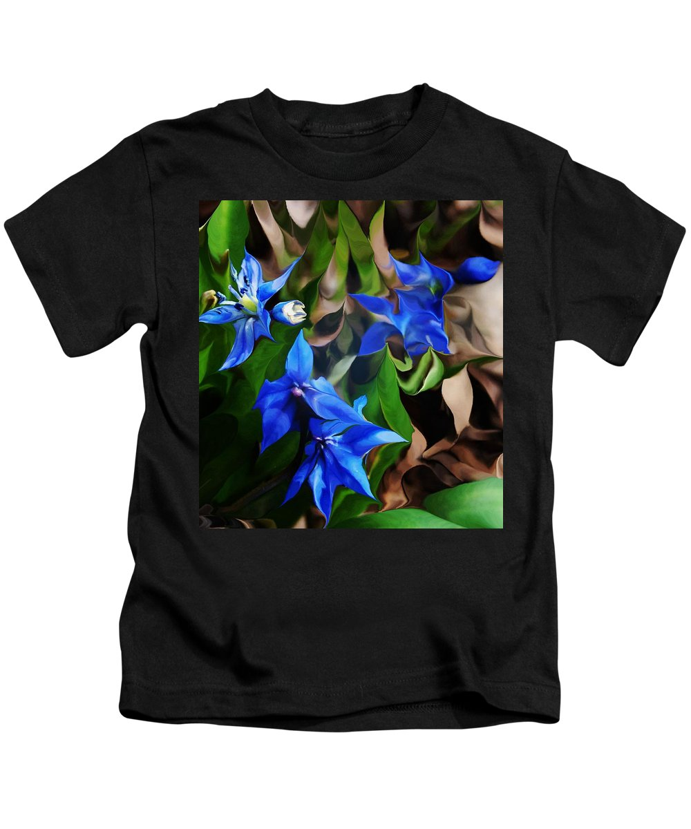 Paintography Kids T-Shirt featuring the digital art Blue Manipulation by David Lane