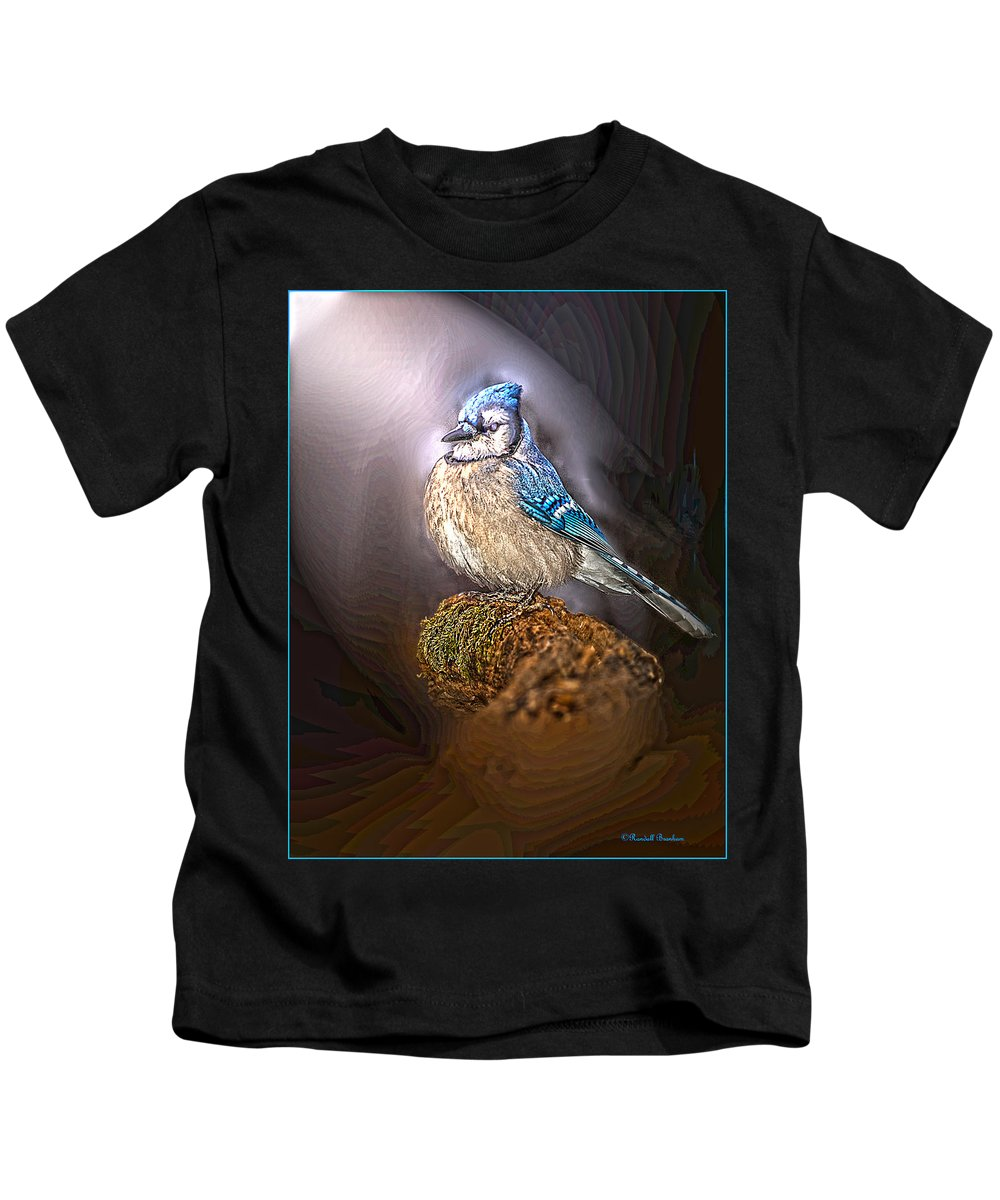 Blue Jay On Moss Snag Kids T-Shirt featuring the photograph Bluejay In Spotlight by Randall Branham