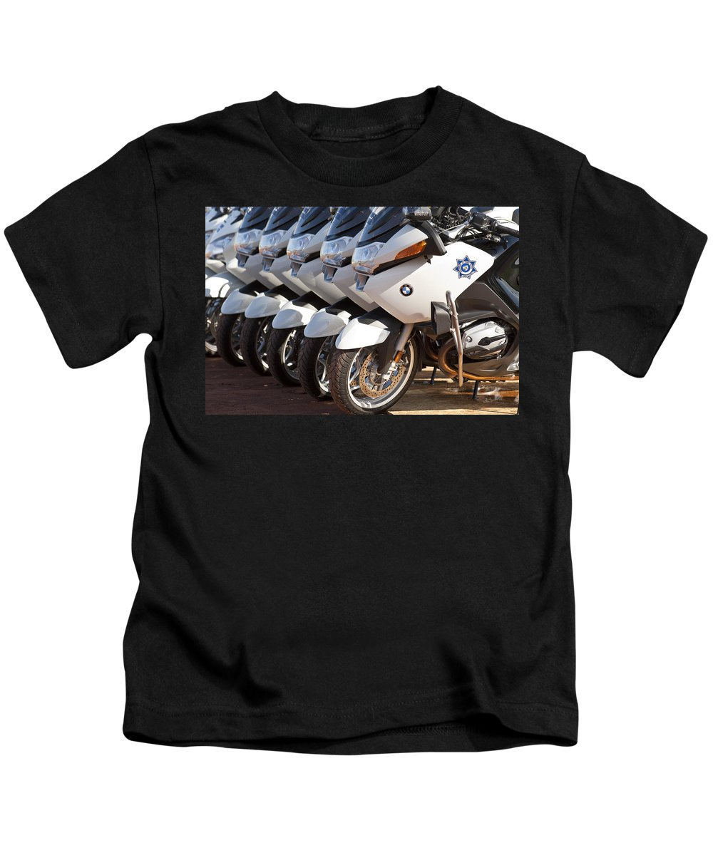 Bmw Police Motorcycles Kids T-Shirt featuring the photograph Bmw Police Motorcycles by Jill Reger