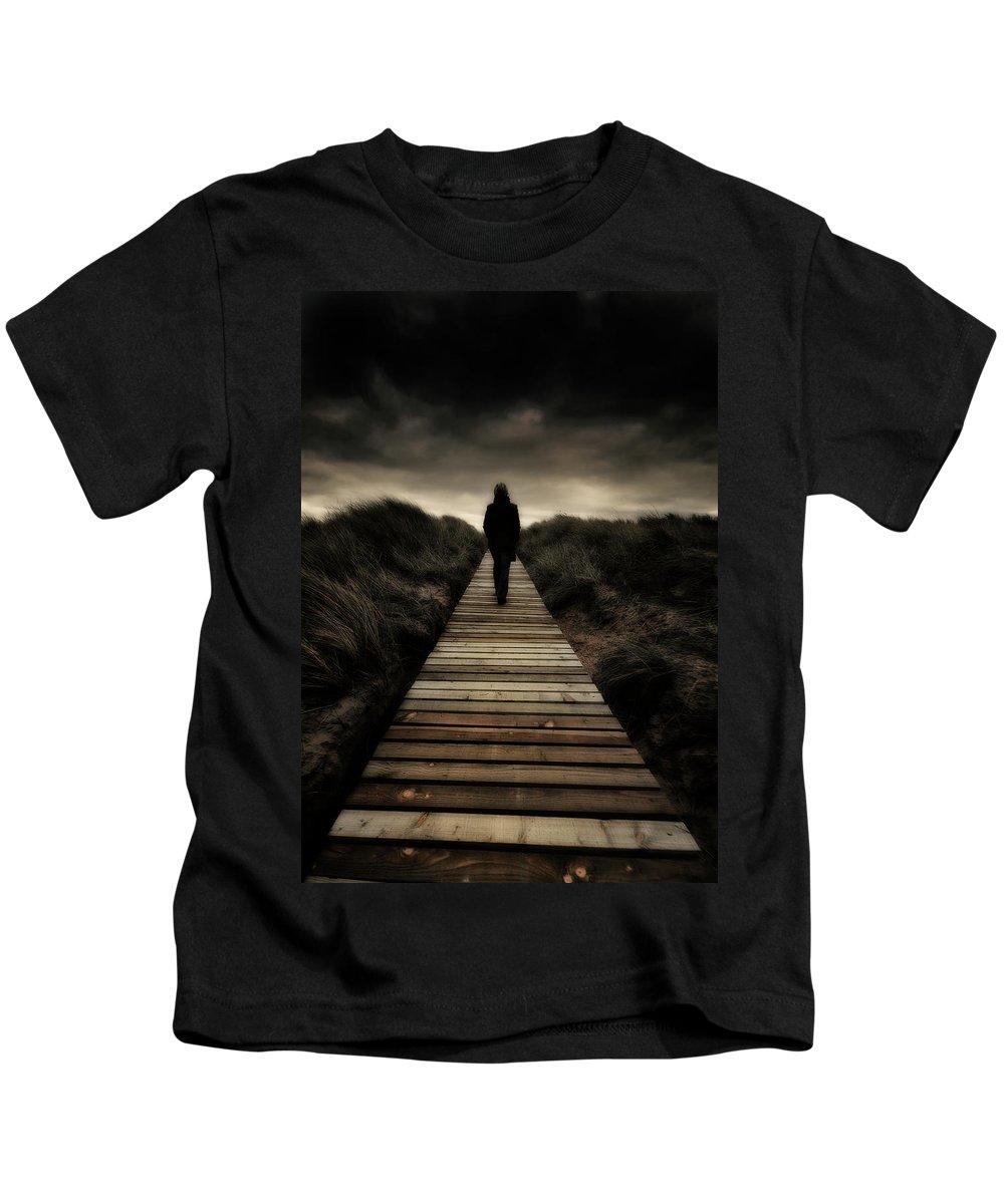 Boardwalk Kids T-Shirt featuring the photograph Boardwalk Of Doom by Meirion Matthias