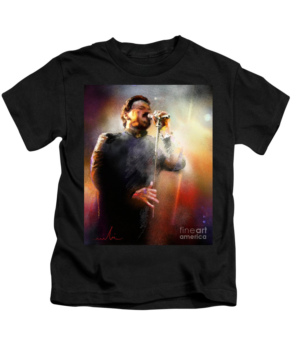 Musicians Kids T-Shirt featuring the painting Bobby Kimball From Toto 01 by Miki De Goodaboom