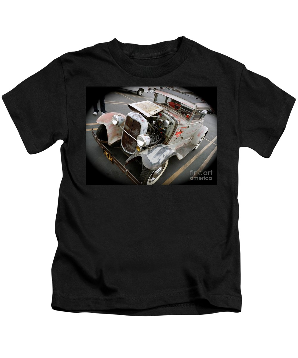 Ford Kids T-Shirt featuring the photograph Bomber Style Model A by Customikes Fun Photography and Film Aka K Mikael Wallin