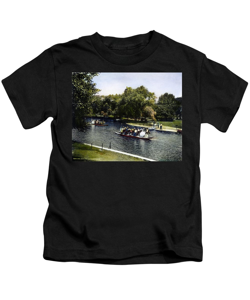 1900 Kids T-Shirt featuring the photograph Boston: Swan Boats, C1900 by Granger