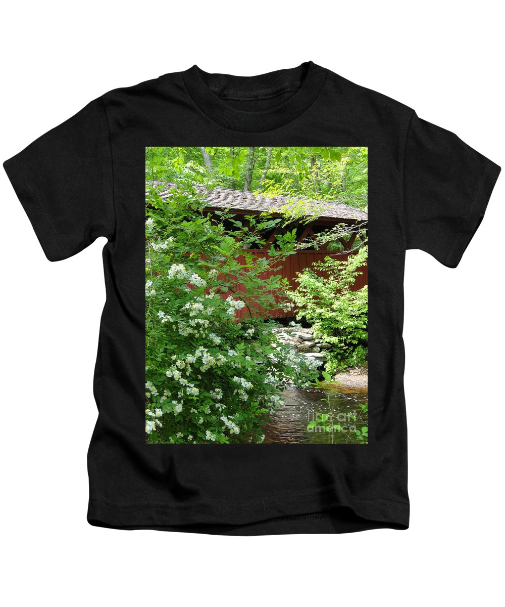 Outdoors Kids T-Shirt featuring the photograph Bridge Of Chatfield Hollow by Meandering Photography