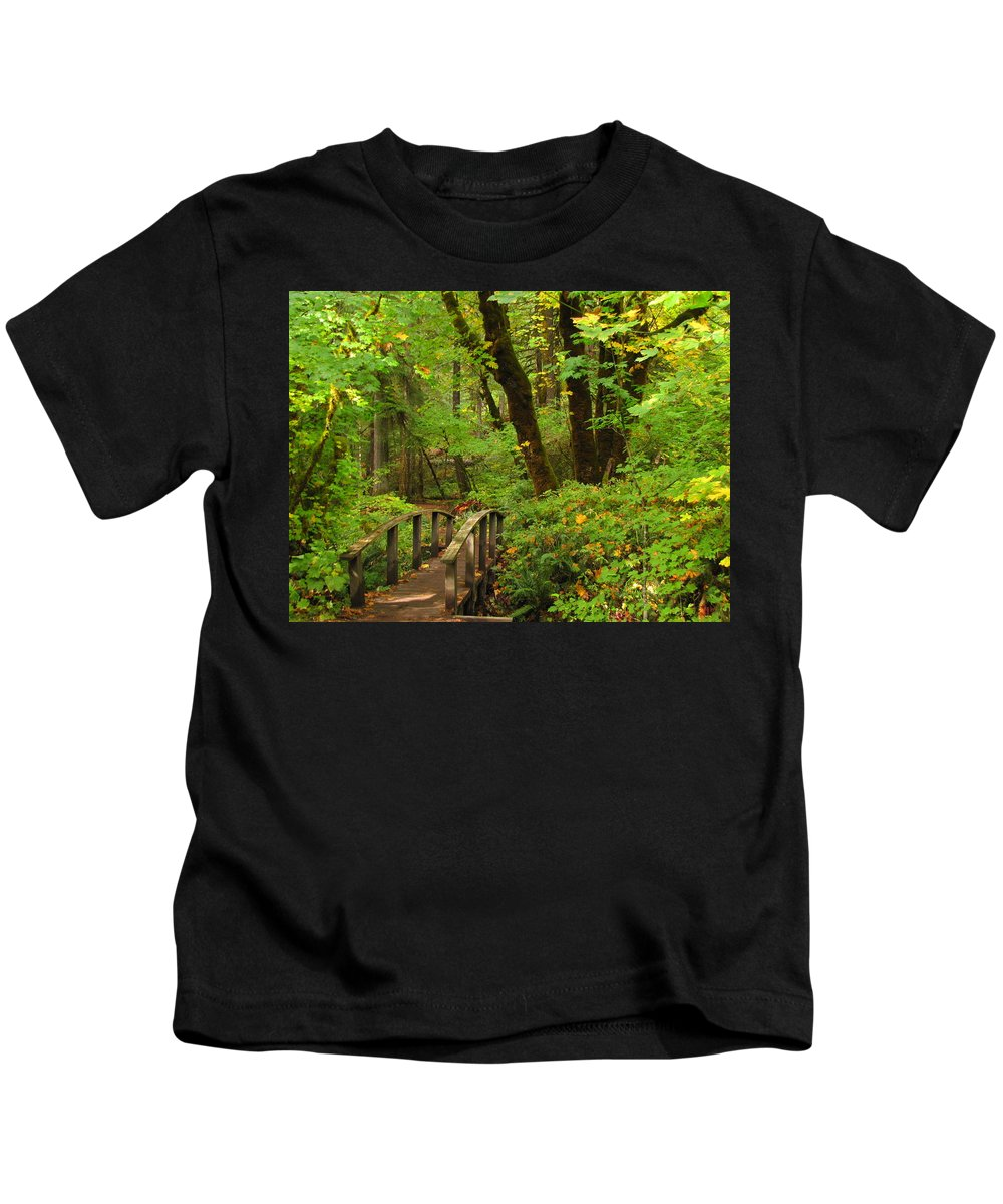 Woods Kids T-Shirt featuring the photograph Bridge To A Fairytale by Katie Wing Vigil