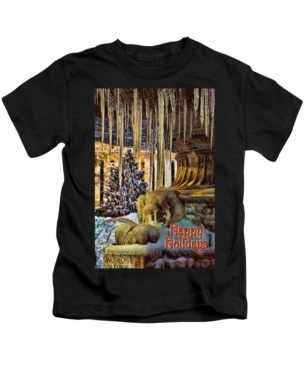 Happy Holidays Kids T-Shirt featuring the photograph Bryant Park Fountain Holiday by Chris Lord
