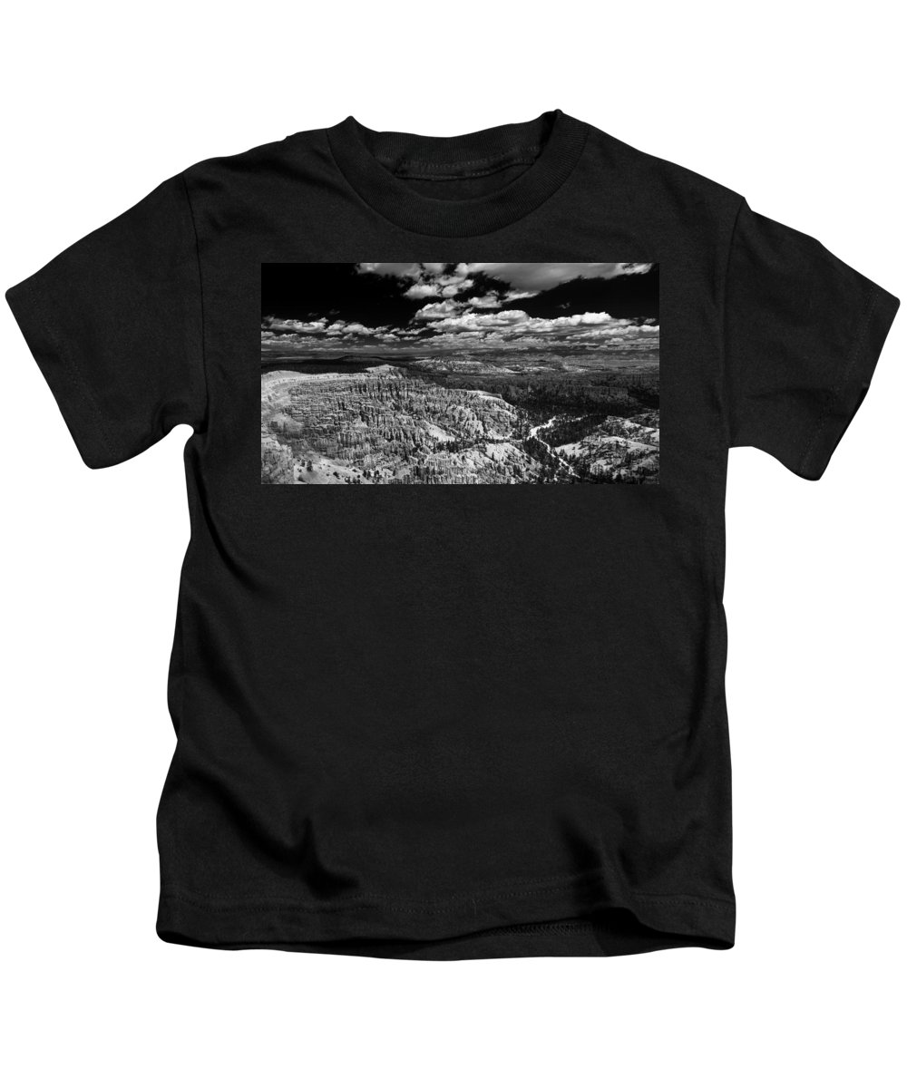 Bryce Kids T-Shirt featuring the photograph Bryce Canyon Ampitheater - Black And White by Larry Carr