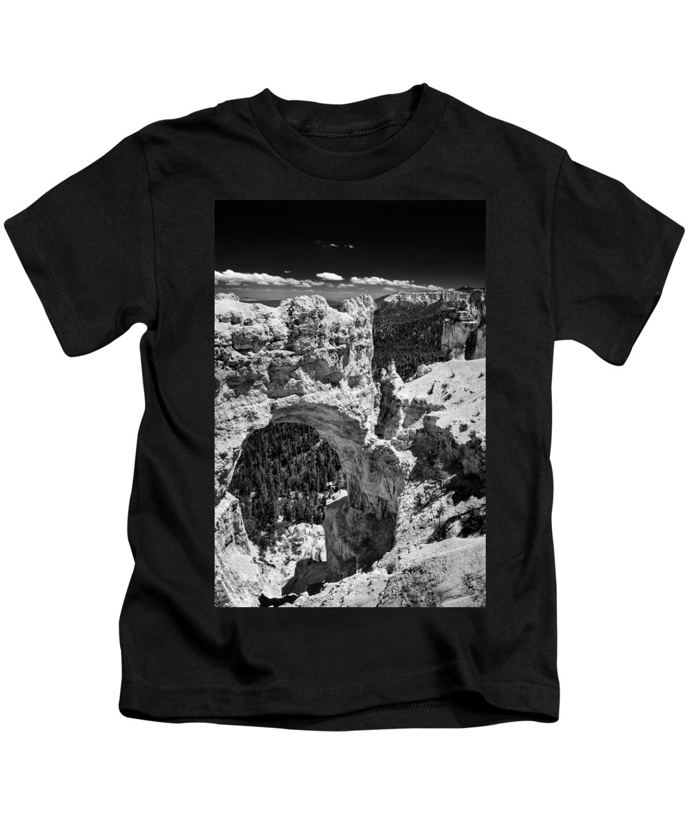 Arch Kids T-Shirt featuring the photograph Bryce Canyon Arch - Black And White by Larry Carr