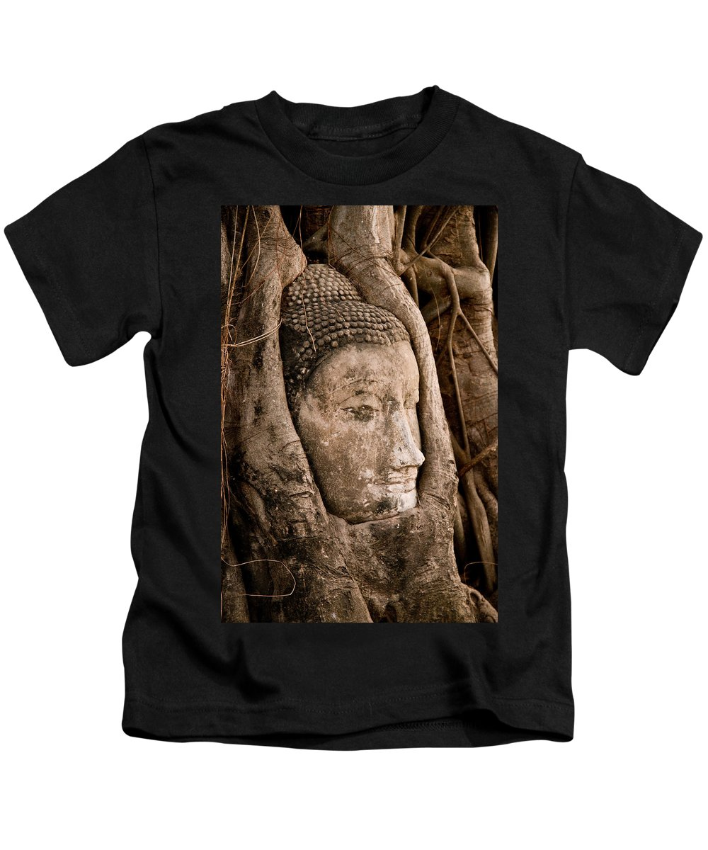 Ancient Kids T-Shirt featuring the photograph Buddha Head Strangled By The Roots by U Schade