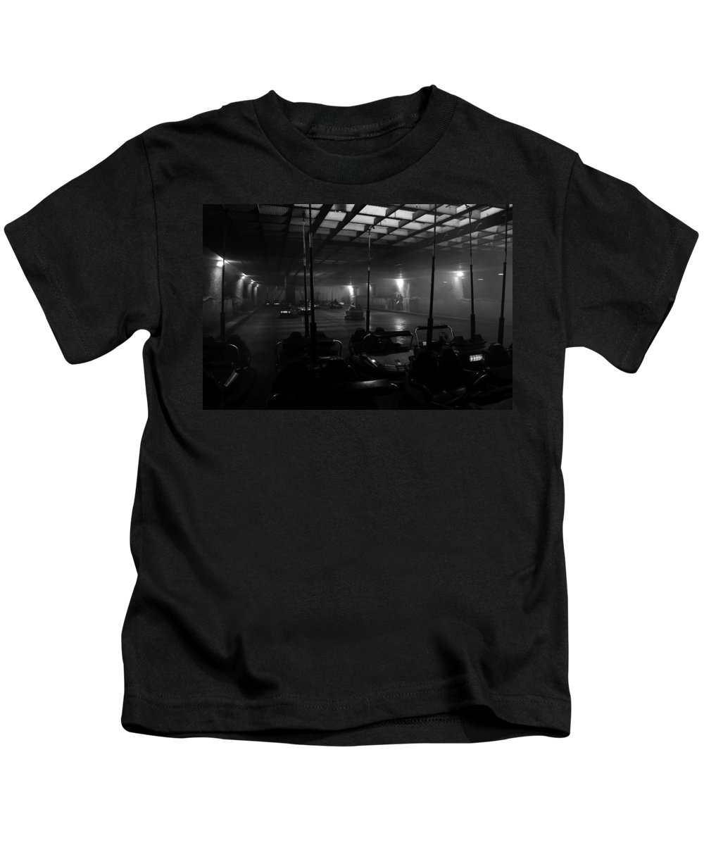 Fine Art Photography Kids T-Shirt featuring the photograph Bumper Cars In Fog by David Lee Thompson