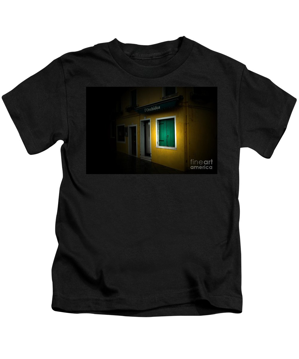 Burano Kids T-Shirt featuring the photograph Burano Flower Shop by Mike Nellums