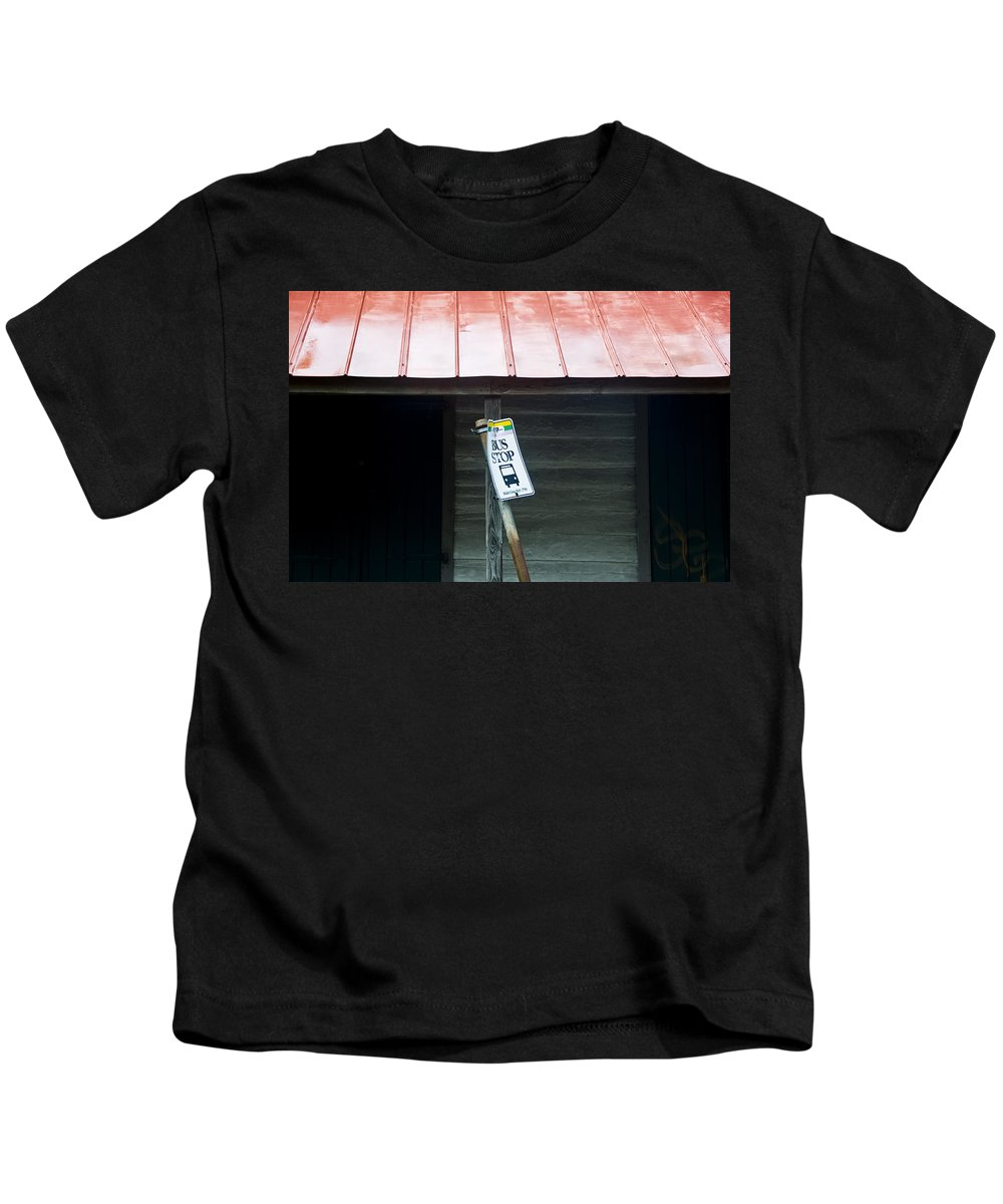 Bus Kids T-Shirt featuring the photograph Bus Stop by Ray Laskowitz