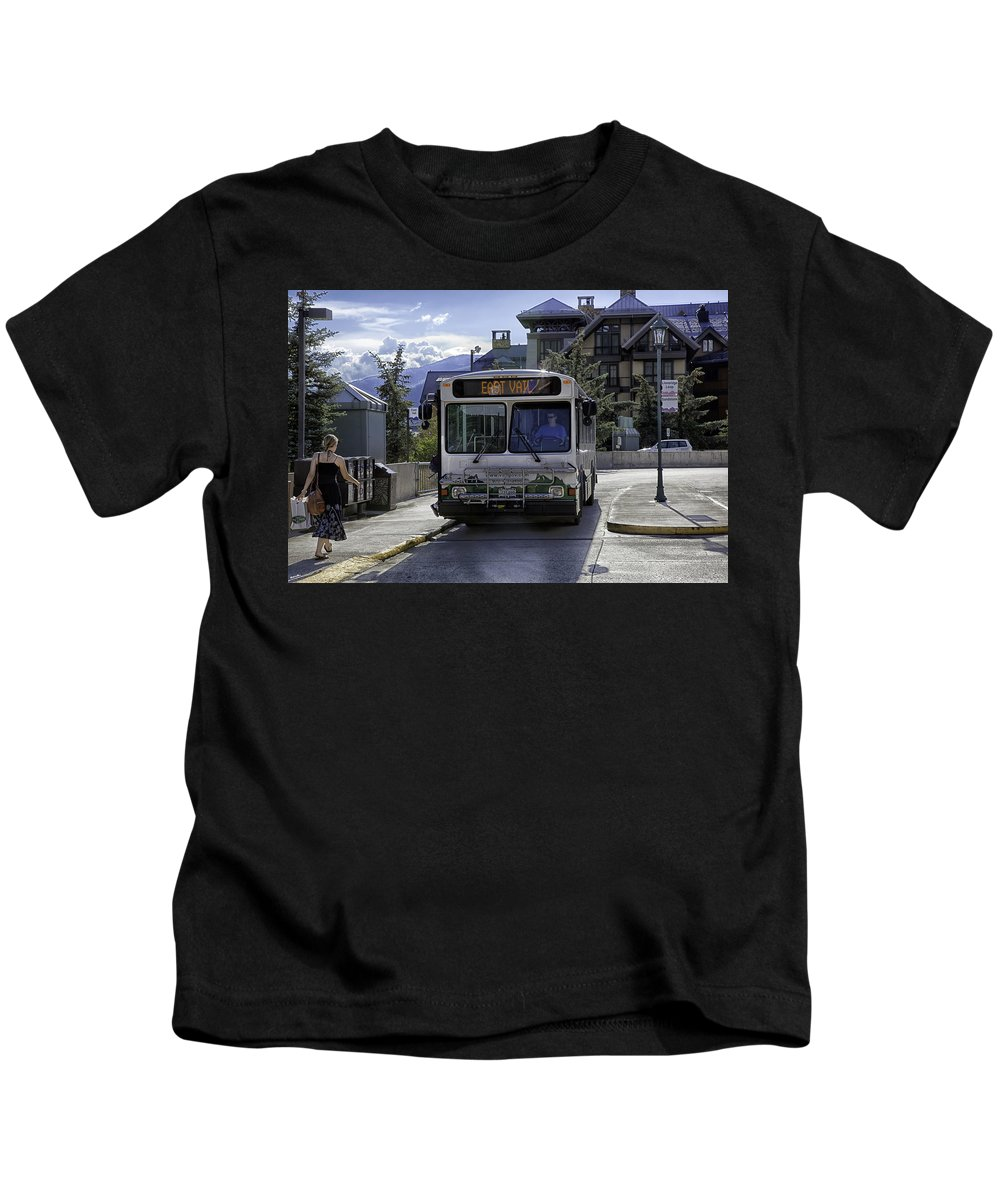 Vail Kids T-Shirt featuring the photograph Bus To East Vail - Colorado by Madeline Ellis