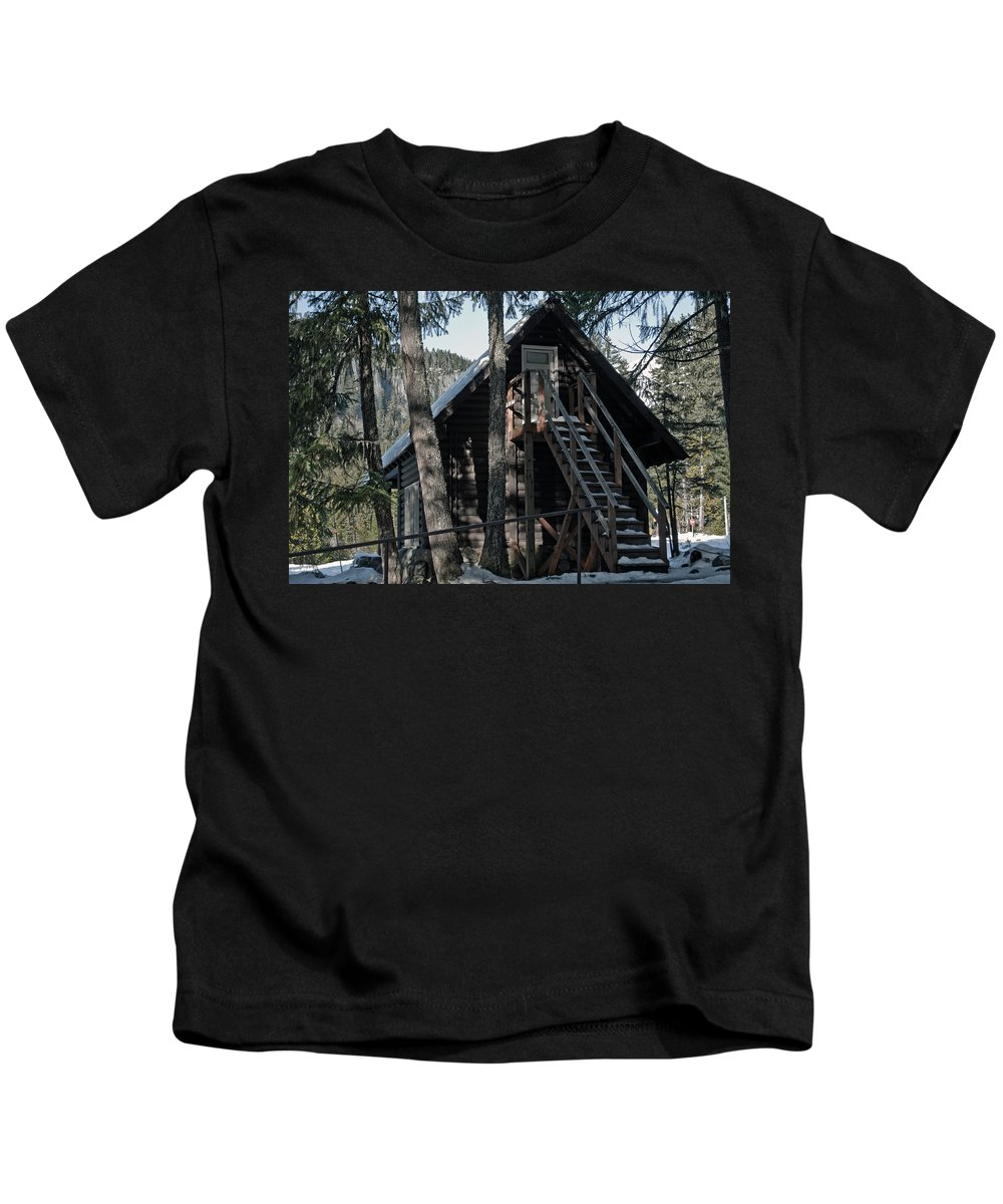 Nature Kids T-Shirt featuring the photograph Cabin Get Away by Tikvah's Hope