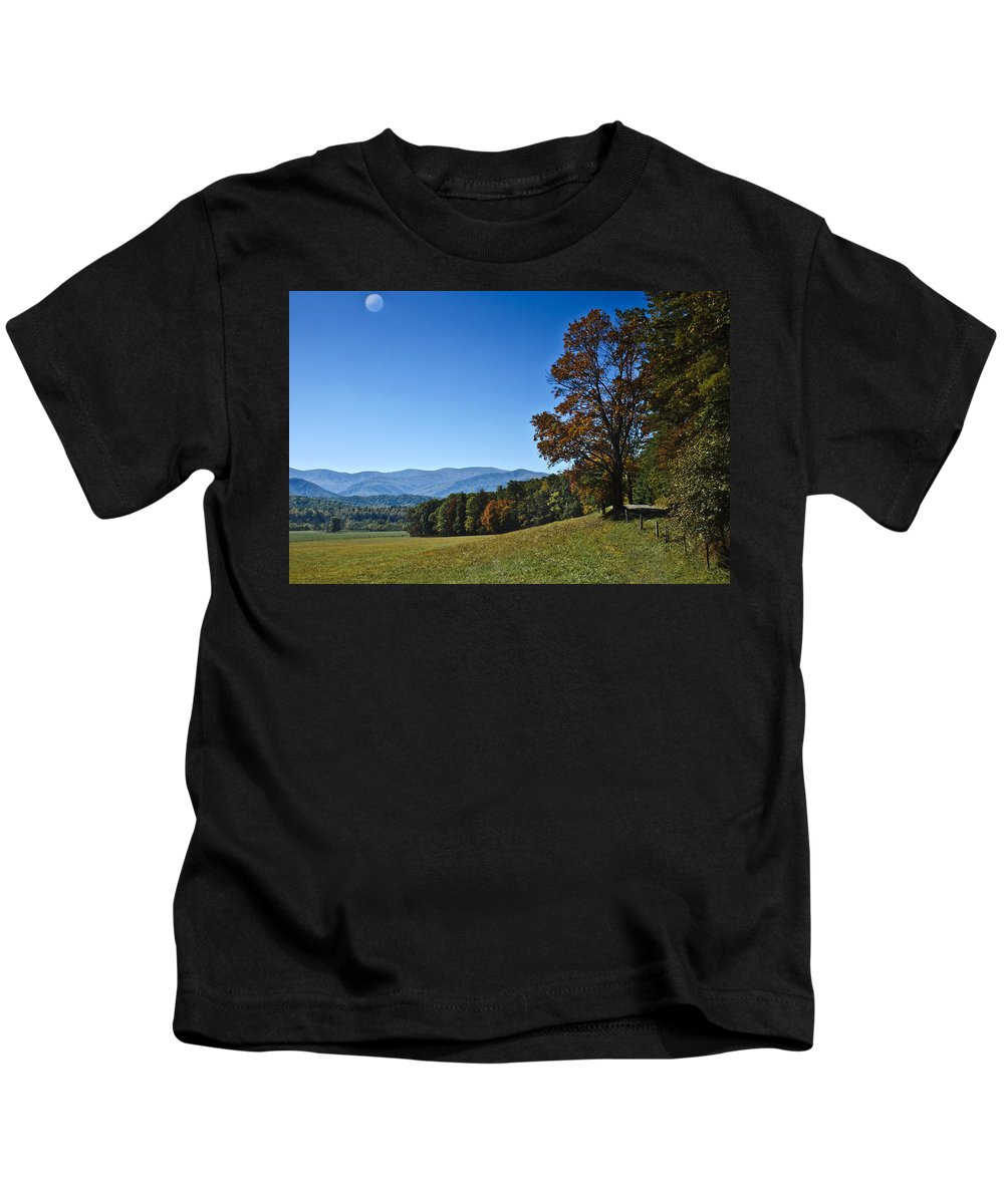 Autumn Colors Kids T-Shirt featuring the photograph Cades Cove Landscape by Carolyn Marshall