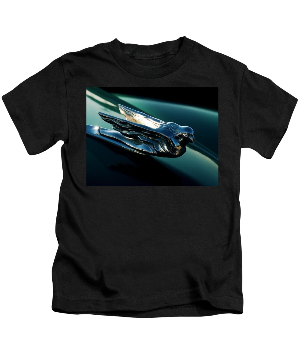 Angel Kids T-Shirt featuring the digital art Cadillac Hood Angel by Douglas Pittman